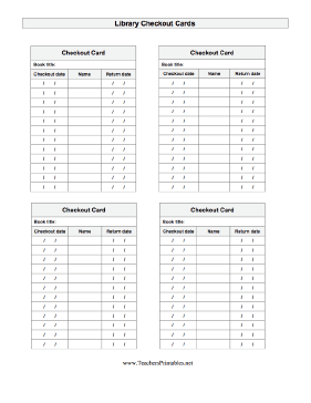 Library Checkout Teachers Printable