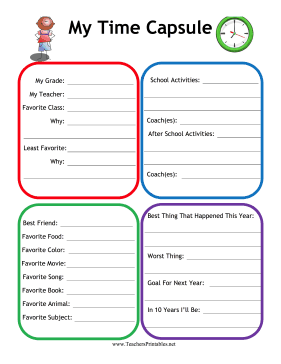 Time Capsule Teachers Printable